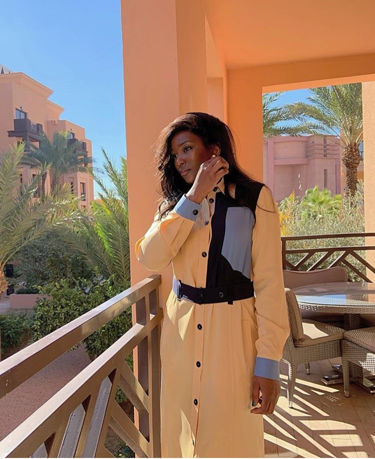 2315dde38700 Victoria Beckham shares a photo of Nigerian's well known actress Genevieve  Nnaji rocking her color blocked dress allegedly worth N400k
